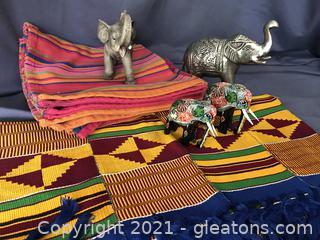 Colorful lot plus 4 elephants