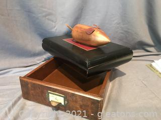Antique drawer , wooden cigar box and a cheese mouse