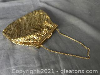 Gold mesh evening bag crystals on closure