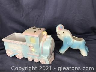 Vintage planters Lullaby Express Train Music Box , elephant planter