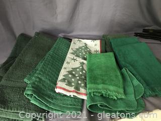 10 piece linens hand towels, dish towels, finger towels and washcloth