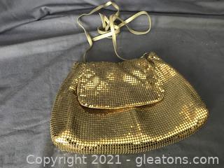 Vintage Whiting & DAVIS Gold Mesh over the shoulder evening bag