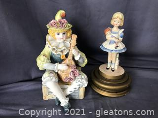 Schmid music box of clown  numbered, girl with doll music box
