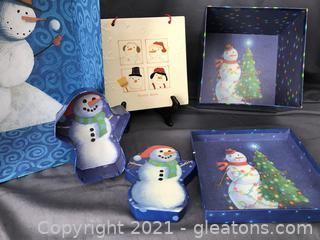 """Snowman boxes decorated inside and out plus snowman tile """"Frosty Days"""""""