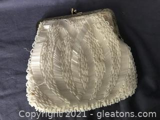 Jacobson's White beaded evening bag,