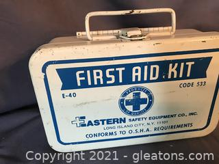 Vintage first aid kit full of goodies, great for shop, truck or man cave