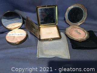 Three vintage compacts,DORSET 5TH AVE,STRATTON MADE IN ENGLAND,REX 5TH AVE,