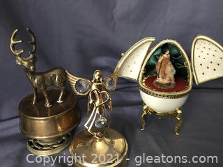 Unique music boxes Angel 24k gold plated with crystals solid brass deer, nativity scene in egg when opened