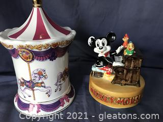 Vintage Mickey Mouse music box, musical candy jar