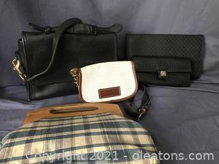 Vintage handbags, Coach, Donny and Burk wristlet, Brighton wallet, wooden handled bag