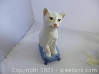 Ceramic cat doorstop made in Italy