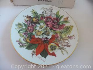 PORCELAIN  FLORAL WALL PLATE SIGNED MADE IN GERMANY