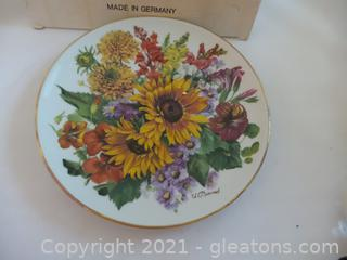 Sun Flower Wall Plate signed made in Germany