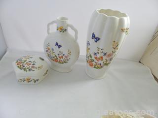 Lot (3) piece Ainsley Porcelain
