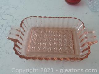 Pink depression glass serving dish