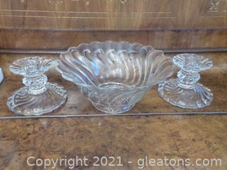 Vintage Swirl Pattern Bowl with Matching candle holders