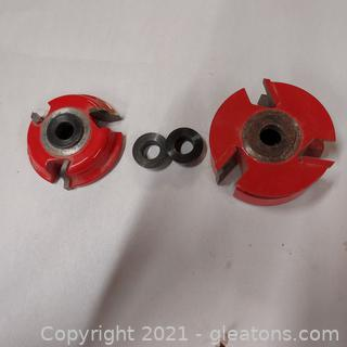 """2 Woodworking Shaper Cutter Bits ¾"""" Bore Freud EC005 and One Unidentified"""