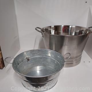 Pair of Nice Handled Metal Tubs