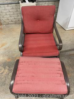 Outdoor Metal & Resin Wicker Swivel Chair & Ottoman W/ Rust Colored Cushions