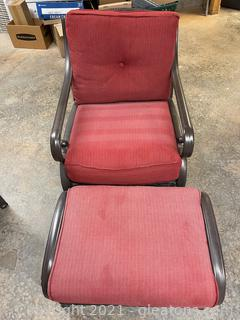 Outdoor Metal & Resin Wicker Swivel Chair & Ottoman W /Rust Colored Cushions