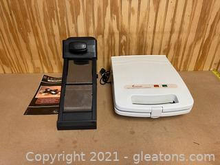 Kitchen Appliance Lot (Lot of 2)  Mandolin Slicer and Belgian waffle maker