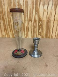 Humingbird Feeder & Pewter Candle Stick Holder