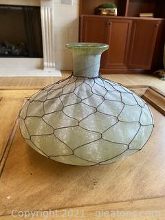 Wide Wire Wrapped Glass Vase