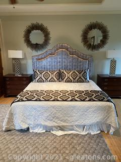 Elegant King Bed with Mattress Set and Bedding