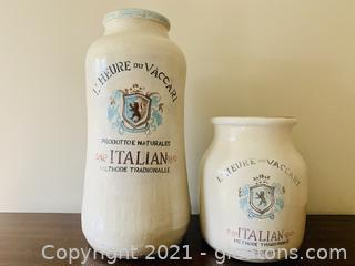 A Pair of Terracotta Crack Glazed Pottery Vases