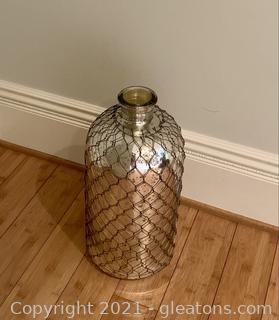 Mercury Glass Bottle with Metal Mesh Sheathing