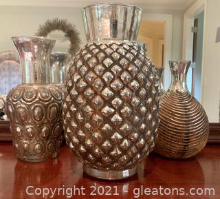 3 Piece Mercury Glass with Rustic  Charm