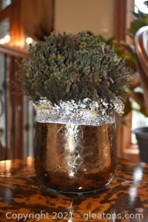 Natural Dried Arrangement Copper Tone Pottery Pot
