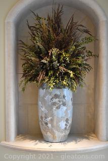Grand Earthenware Ceramic Vase with Arrangement