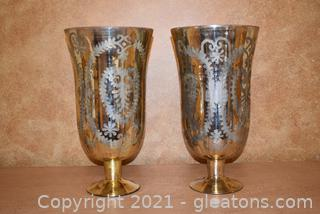 Two Extra Large Patterned Mercury Glass Footed Hurricane