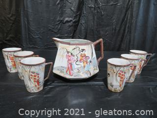 Japanese Geisha Asian Art Tea Set
