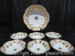 Hand Painted Nippon Berry Bowl and 6 Matching Bowls