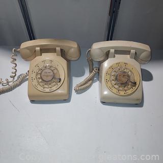Pair of Retro Rotary Dial Phones