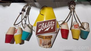 Schlitz Beer Sign and Hanging Lights (2 Sets)