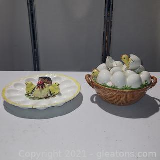 Pair of Cute Chick Serving Dishes