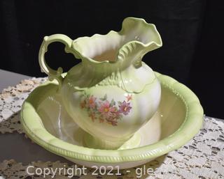 Old Pottery Wash Basin Set
