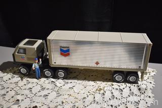 1978 Tonka Chevron Gas Semi Truck & Trailer with Driver