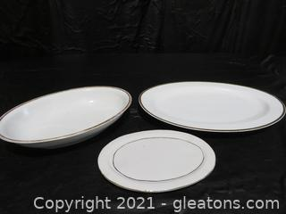 Three Timeless Gold Rimmed Serving Dishes