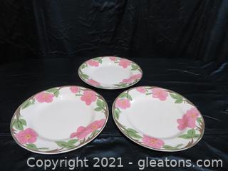 "Lot of 3 Franciscan Dessert Rose Dinner Plates 11"""