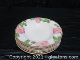 Franciscan Earthenware-Desert Rose Made in U.S.A Six Soup Bowls