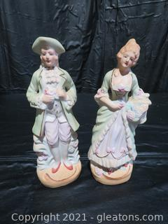 """Occupied Japan Porcelain Bisque Colonial Man and Woman Figurines 8½"""" Tall"""