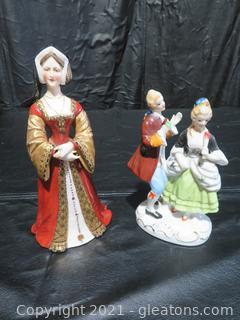 Porcelain Couple Made in Japan and Queen Jane Seymour Made in Germany