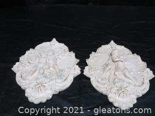 Pair of Vintage Victorian Plaster Relief Wall Sculpture Hanging
