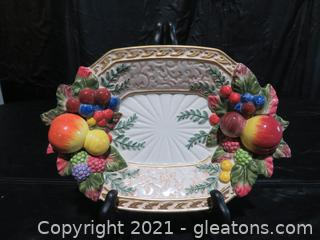 Vintage Fitz and Floyd Classic Dish/Plate with Trompe L'Oeil Fruit Design