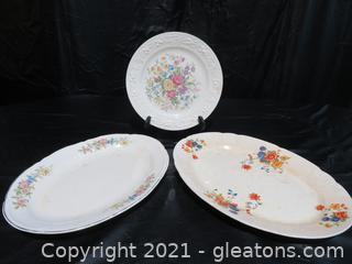 Homer Laughlin Off White Plate, Knowles Platter and Crown Ivory Platter