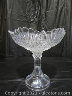 Large Shannon Lead Crystal Pedestal Centerpiece